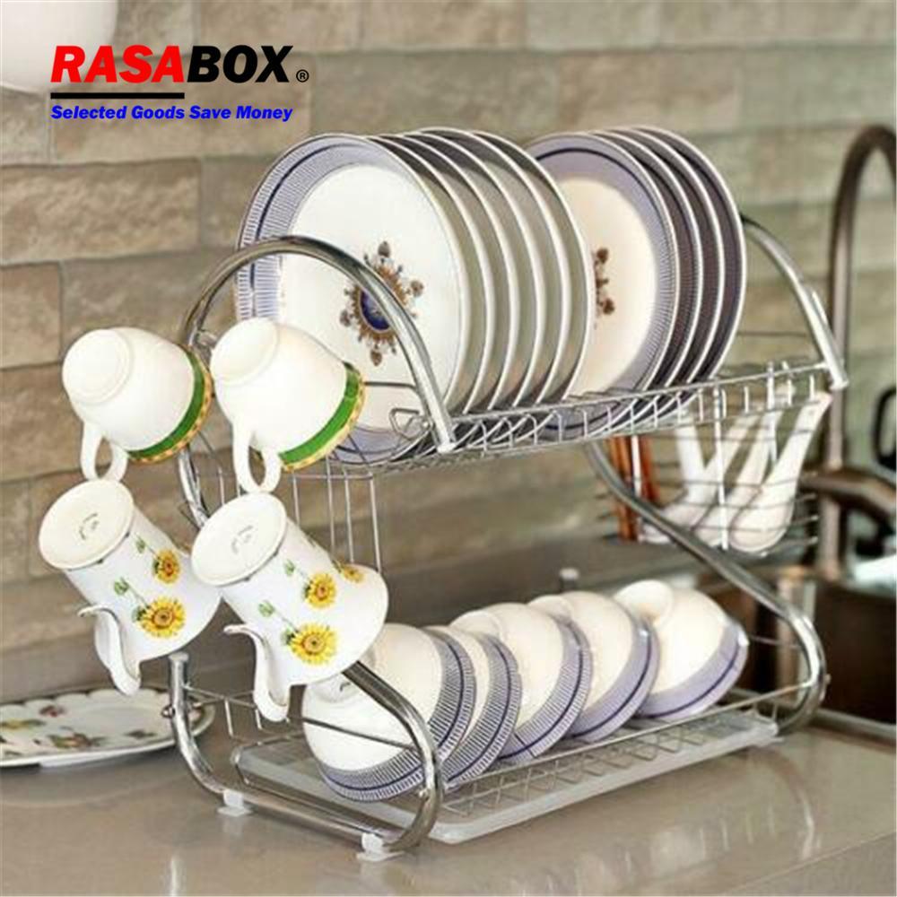 RASABOX - Dish Racks, Large Capacity, 2 Tier, Dish Drainer Drying Rack, Kitchen Storage, Dish Drainer Drain Board Utensil Holder