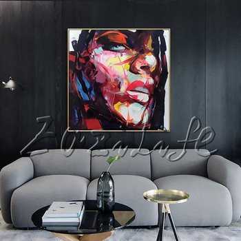 Portrait Face Abstract Portrait Palette knife Oil painting christmas figure canva Hand painted Francoise Nielly wall Art picture