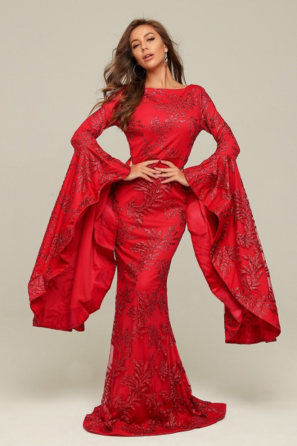 New Arrival Top Quality O-Neck Flare Long Sleeve Fashion Elegant Vintage Nightclub Celebrity Party Red Dresses
