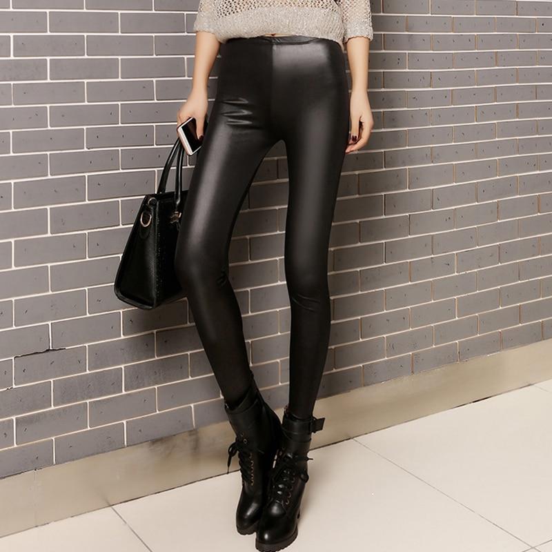 Faux Leather Leggings Women Autumn Sexy Thin Black Leggings Mujer Leggins Push Up Plus Size Jeggings Casual