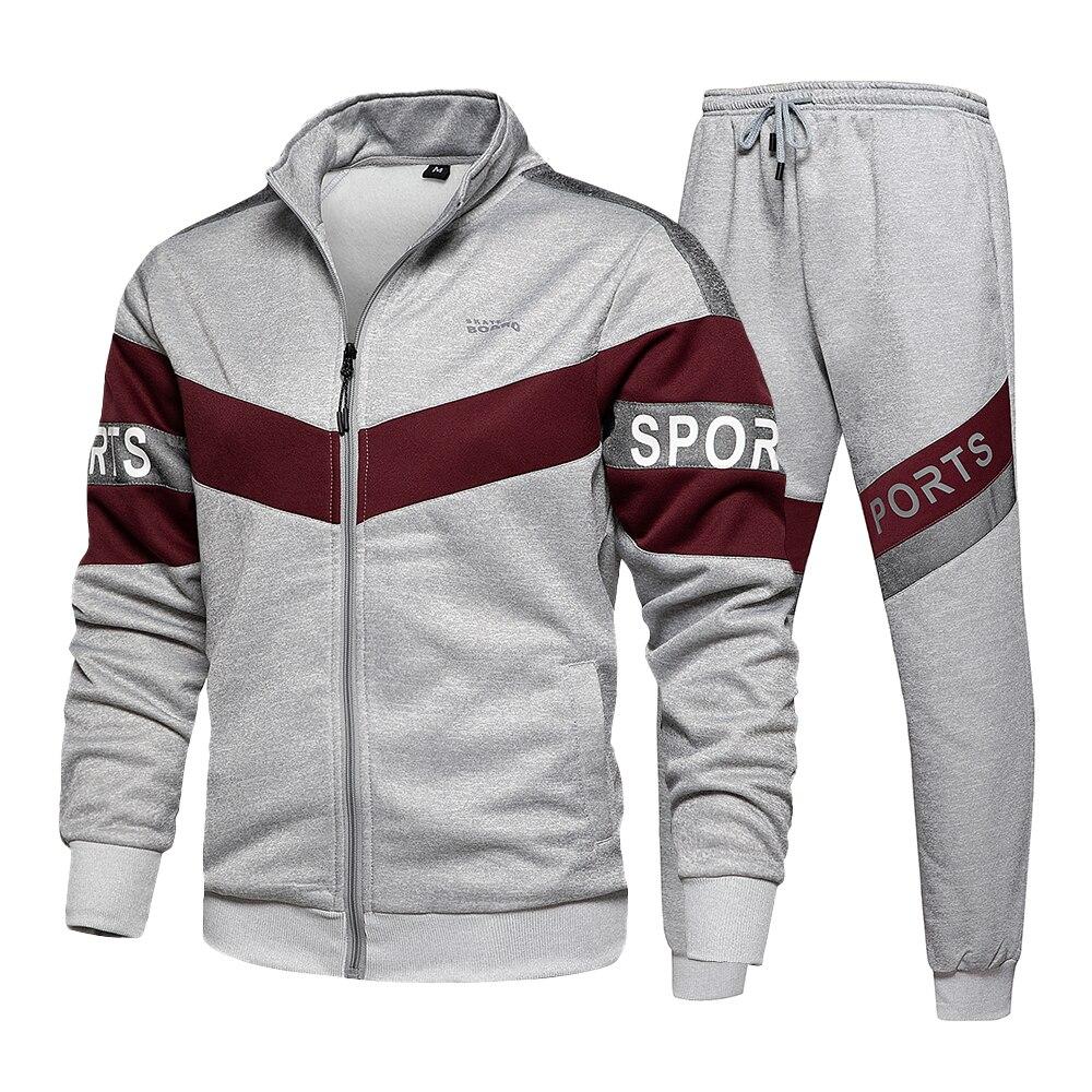 Спортивный костюм мужской повседневный, свитшот на молнии с длинным рукавом и прострочкой, комплект из 2 предметов для бега, зимняя одежда д...