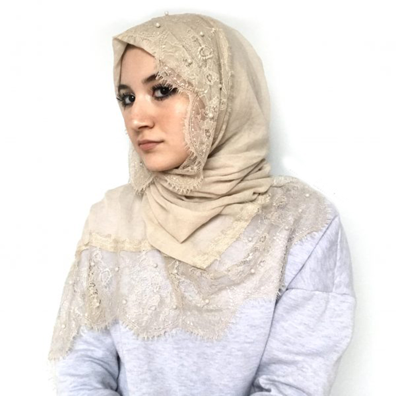 2019 NEW Muslim Hijab With Lace And Pearls Islamic Cotton Headscarf Female Plain Shawls And Wraps Hijab Femme Musulman