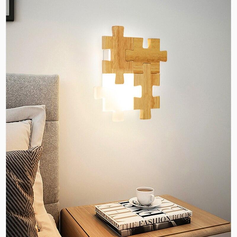 Скандинавские прикроватные проходы светодиодный настенный светильник сочетание головоломки личности творческой твердой древесины спаль... - 3