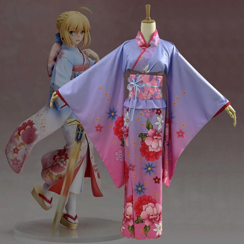 Fate/Apocrypha Aniplex saber Ver Cosplay Anime Women's beautiful kimono Costumes Cherry blossoms bathrobe Kimono women's dress
