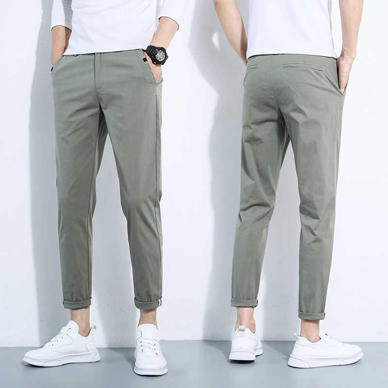 Pantalones De Marca Para Hombre Pantalones Informales De Negocios Pantalones Clasicos De Longitud Media Recta Respiracion A Moda Casual Pants Aliexpress