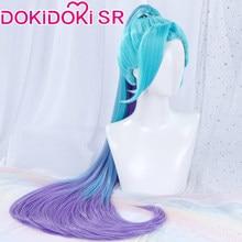 Dokidoki jogo liga das lendas cosplay kda seraphine longo rabo de cavalo lol k/da peruca de cabelo seraphine