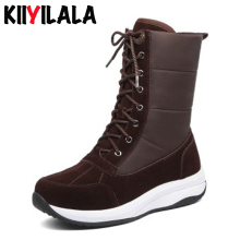 Kiiyilala Plus Size Cow Suede Snow Boots Women Waterproof Booties Lace-up Round Toe Warm Woman Ankle Boots Winter Platform Shoes lepton brand men skinny tie clip pins short silver color men metal necktie tie bar chrome clamp stainless steel plain tie clip