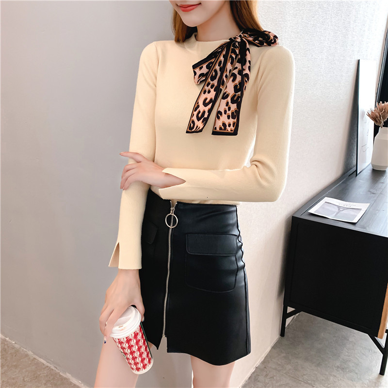 Women Knit Sweater Pullover Autumn Winter Clothes New Leopard Bow Tie Slim Pull Knitwear Sweater Jumper Long Sleeve Female Tops 16