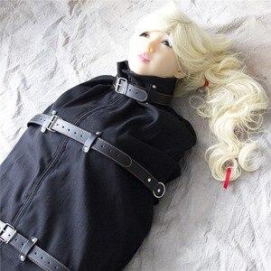 Image 2 - Unisex Black Canvas Mummy Role Play Bondage Sleep Sack with Leather Straps Body Encasement Straitjacket Fetish Costume