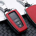 Leather Shell Car Remote Car Key Case Keyring For Toyota Camry Corolla C-HR CHR Prado 2018 2019 Key Protection Car Accessories