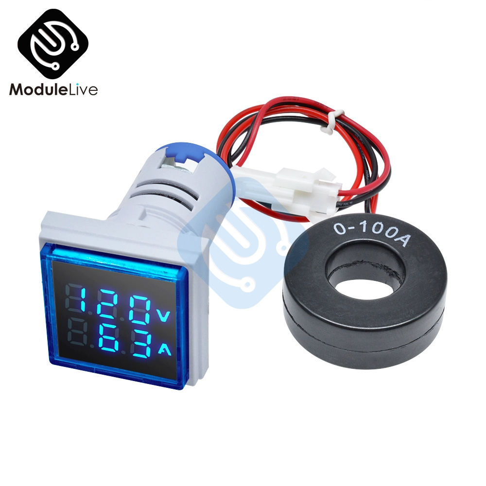 22MM  0-100A AC 50-500V 20-75Hz Digital Voltmeter Ammeter Voltage Current Meter Detector Blue Square Tester 220V Tools