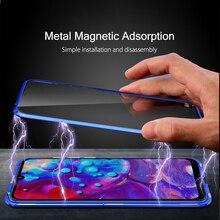 360 okładka Oppo Realme 3 5 5i 6 Pro Coque Oppo Realme X Q X50 C3 X50M 2X metalowe etui magnetyczne Realme X Lite 6 6i Pro szklane Fundas