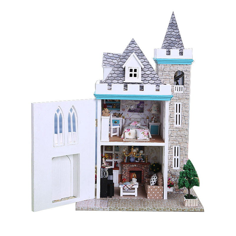 Carefully Handmde Wooden Castle Miniature Dollhouse With Furniture And Telescope Assembly Wooden Doll House For Children Gift