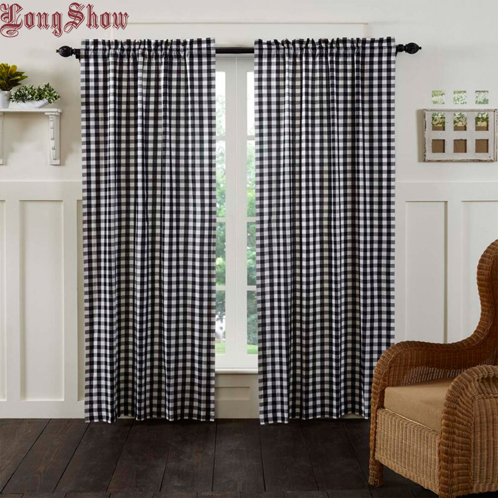 Modern Black Geometric Plaid Design Super Smooth Thick Plushed Curtains For Living Room Bedroom Curtains
