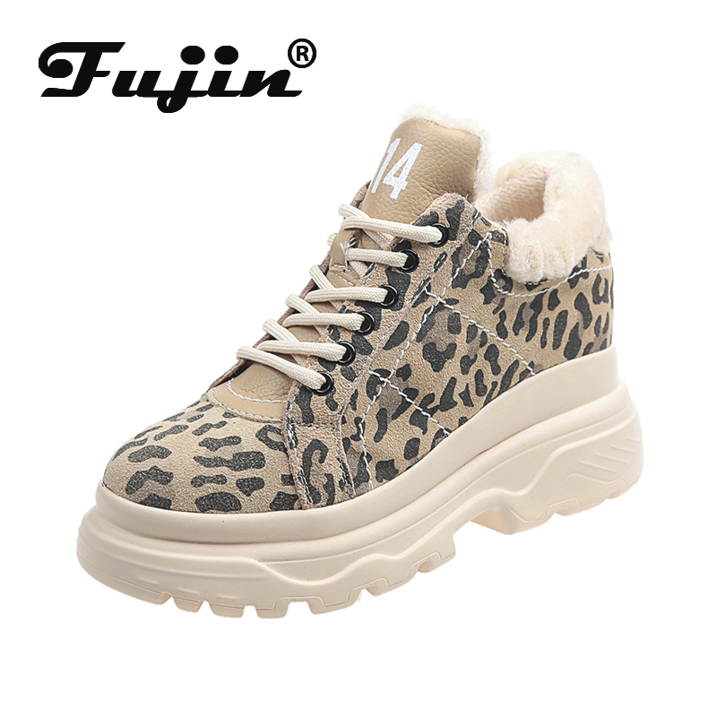 Fujin Platform Shoes Dropshipping Black High Quality Flock Leopard Comfortable Women Plush Shoes Sneakers For Autumn Winter  New