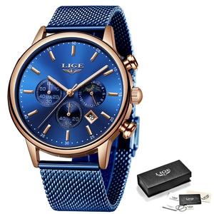 Image 5 - LIGE New Mens Watches Male Fashion Top Brand Luxury Stainless Steel Blue Quartz Watch Men Casual Sport Waterproof Watch Relojes