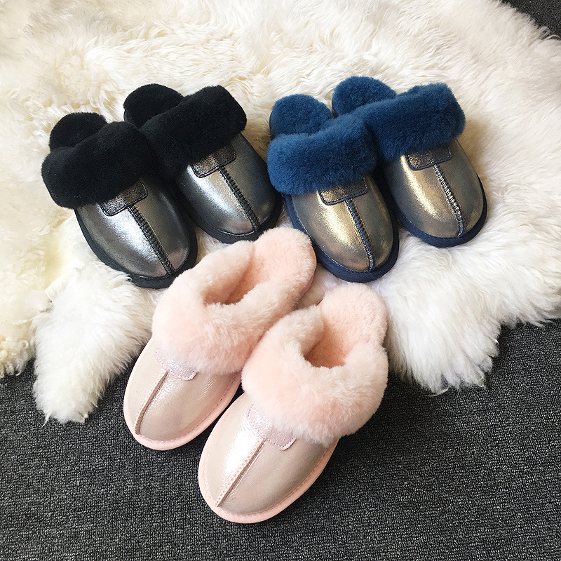 2021 Women Slipper Winter Snow Boots Non-slip Leather Real Wool Fur Warm Fashion Ladies Shoes Home 2