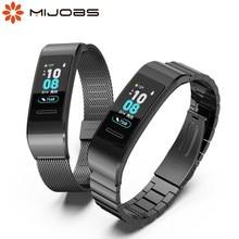 Dla Huawei Band 3/3 Pro/4 Pro pasek metalowe opaski bransoletka wymiana pasek na rękę dla Huawei Band Fitness inteligentny zegarek