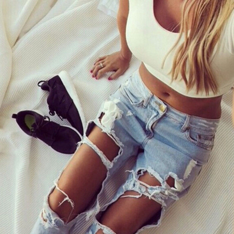 Sexy Ripped Damaged Jeans Women Skinny Full Length Pencil Pants Hole Trousers Casual Loose Retro Denim Pants