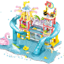 Mengwoha Summer Holiday City Water Park Building Blocks Friends Swimming Pool Girl Figures Educational Toys For Children Gift