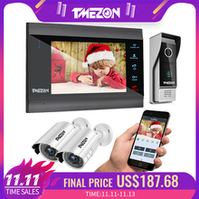 TMEZON sistema de intercomunicación para puerta de 7 pulgadas, inalámbrico, WiFi, Vídeo IP inteligente, timbre con cable de 1200TVL + cámara de vigilancia 2x1200TVL