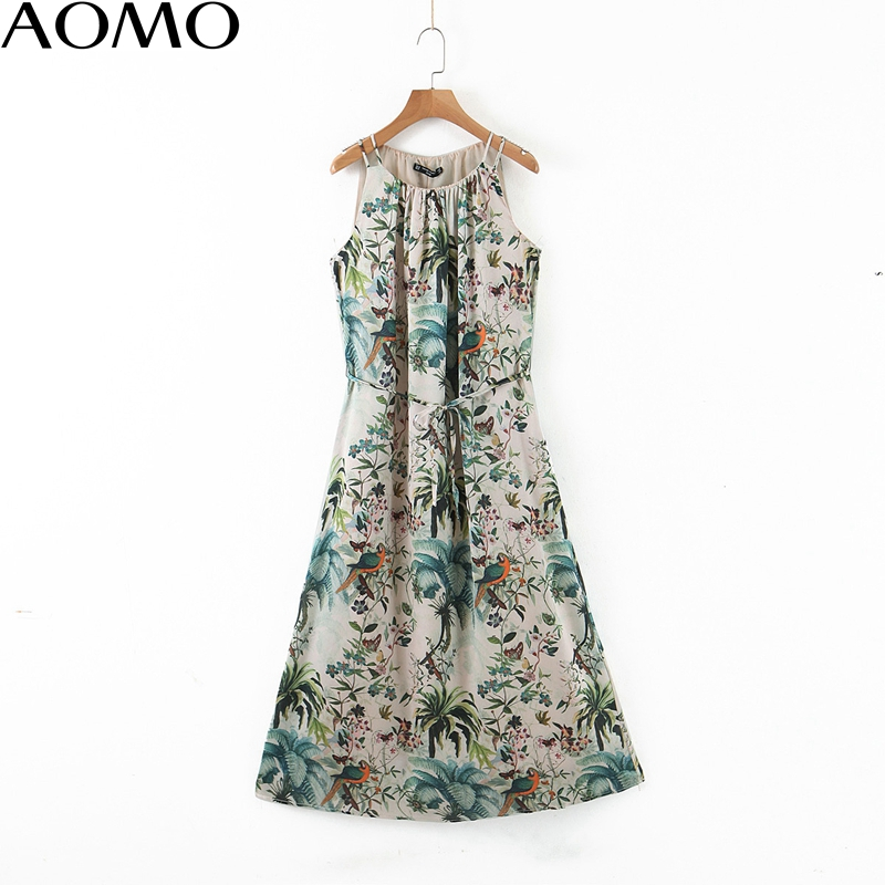 AOMO  Fashion Women Leaf Print Halter Sundress With Slash 2020 New Arrival Ladies Midi Dress Vestidos QB148A