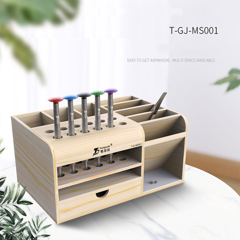 Mutifunctional Wooden Storage Box Desktop Phone Repair Screwdriver Tweezers Holder Phone Parts Organizer