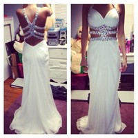 White Prom Dresses 2015 Long Chiffon Beaded Sweetheart Sexy Open Back vestidos de fiesta Floor length Eleagnt Prom Formal Gowns