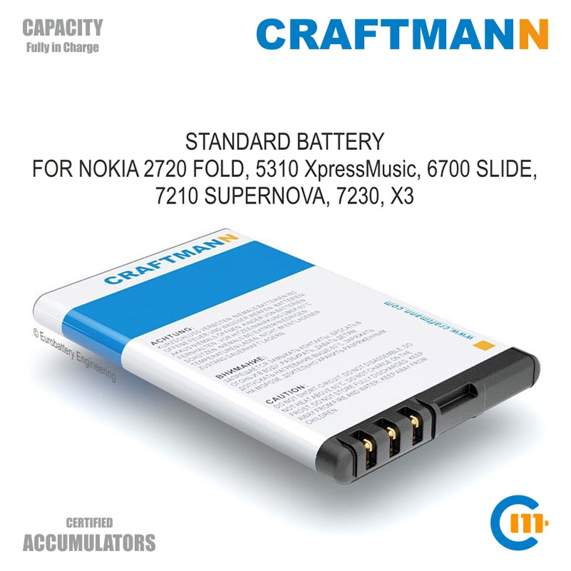 Replacement Battery 850mAh Nokia 2720 FOLD/5310 XpressMusic/5630/6600 FOLD/6700 SLIDE/7210 SUPERNOVA/7230/7310/X3 (BL-4CT)(China)