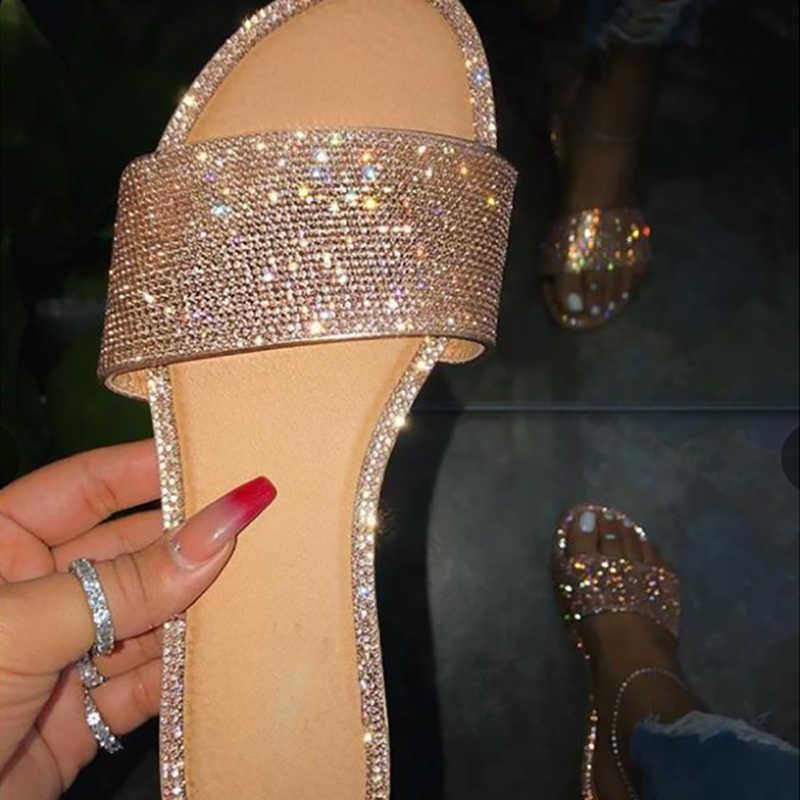 Xăng Đan Mùa Hè Nữ Bling Dép Nữ Pha Lê Sandalias Bãi Đấu Sĩ Giày Sandal Nữ Giày Đi Biển Nữ Sandalia Feminina
