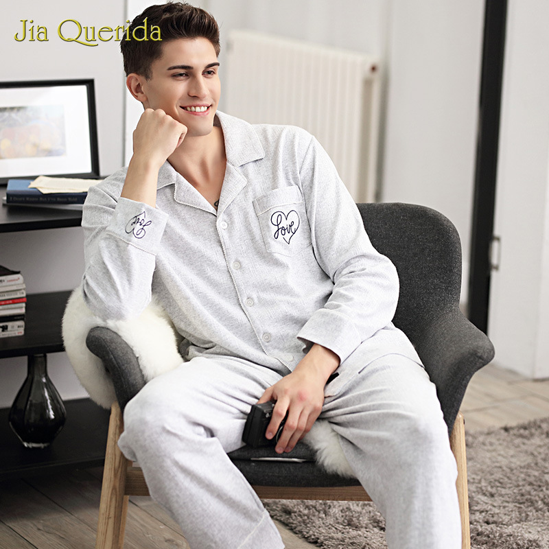 Pajama Men's Jacquard Cotton Simple Solid Color Home Clothing Loose Size Suit Autumn Winter Gray New Mens Pijama Set Loungewear