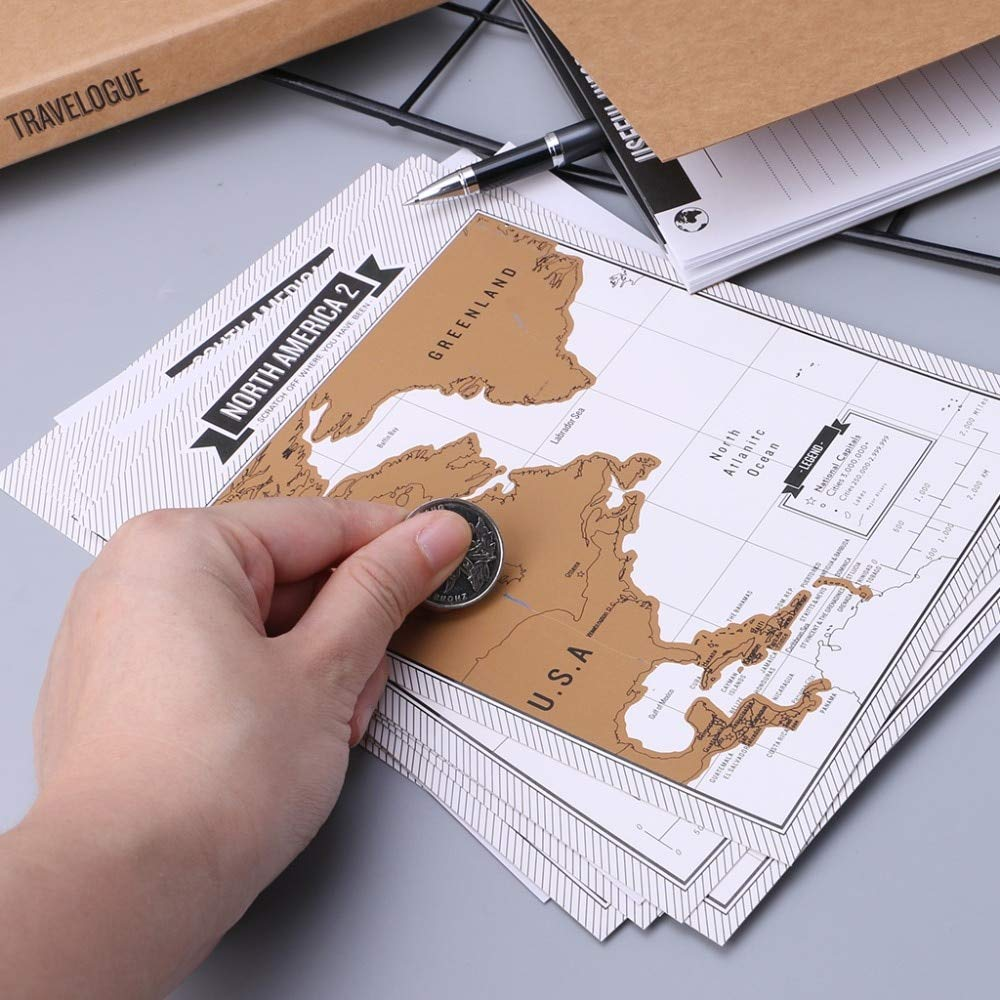 Travel Scratch Map Travelogue Notebook Journal Diary Log With 8 Mini World Maps Travel City For Tourist Gift Stationery Supplies