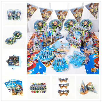Cartoon Toy Story Kids Boys Birthday Pack Event Party Decoration Balloon Cups Plates Baby Shower Disposable Tableware Supplies image