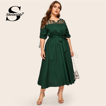 Sheinside Plus Size V Neck Contrast Mesh Dress Women Elegant Cuff Lace Up Belted Dresses 2019 Summer Half Sleeve Midi Dress 1