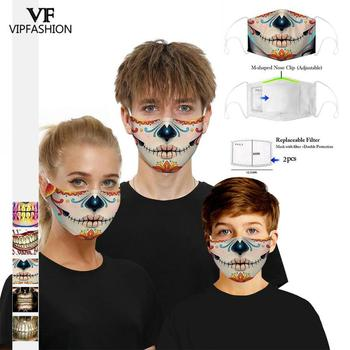 VIP FASHION New Funny Adult Kids 3D Printed Face Masks Cotton Anti-Dust Mouth Mask Clothing Accessories For Party