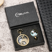 Retro Bronze /black Quartz Pocket Watch Gifts Set for Men Women with Box Quartz Pendant Watches Necklace Clock Reloj Hombre
