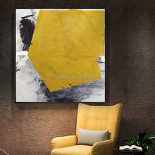 Modern minimalist Roscoe abstract yellow and black oil paintings large living room mural size decorative painting