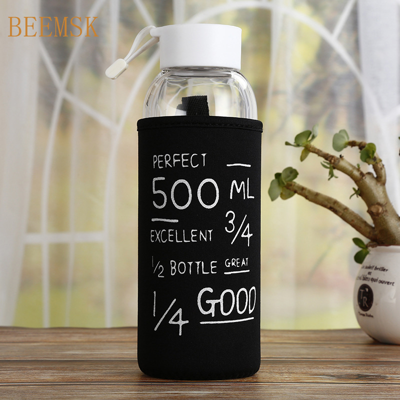HADELI 500ml Creative single layer glass water bottles outdoor sports glass cute water bottle white/back with lid with bag new|Water Bottles|   - AliExpress