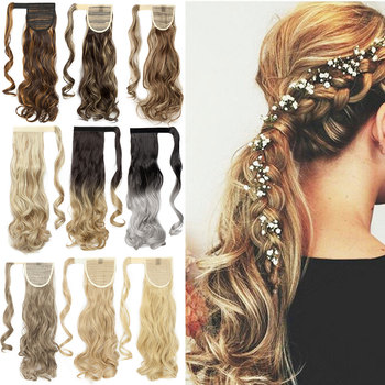 S-noilite 18inch Long Wavy Natural Ponytail Clip in Pony tail Hairpiece Wrap Around Synthetic ponytail extension hair for women 1