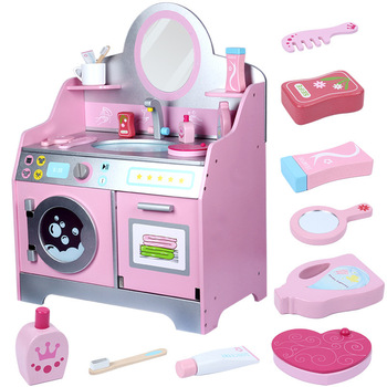 Children Pretend Play Simulation Dressing Table Baby Girl Wash Table Dress Up Early Education Wooden Toys for Kids Gifts simulation soft silicone baby dolls photography props pregnancy early education utensil children play house toys l633
