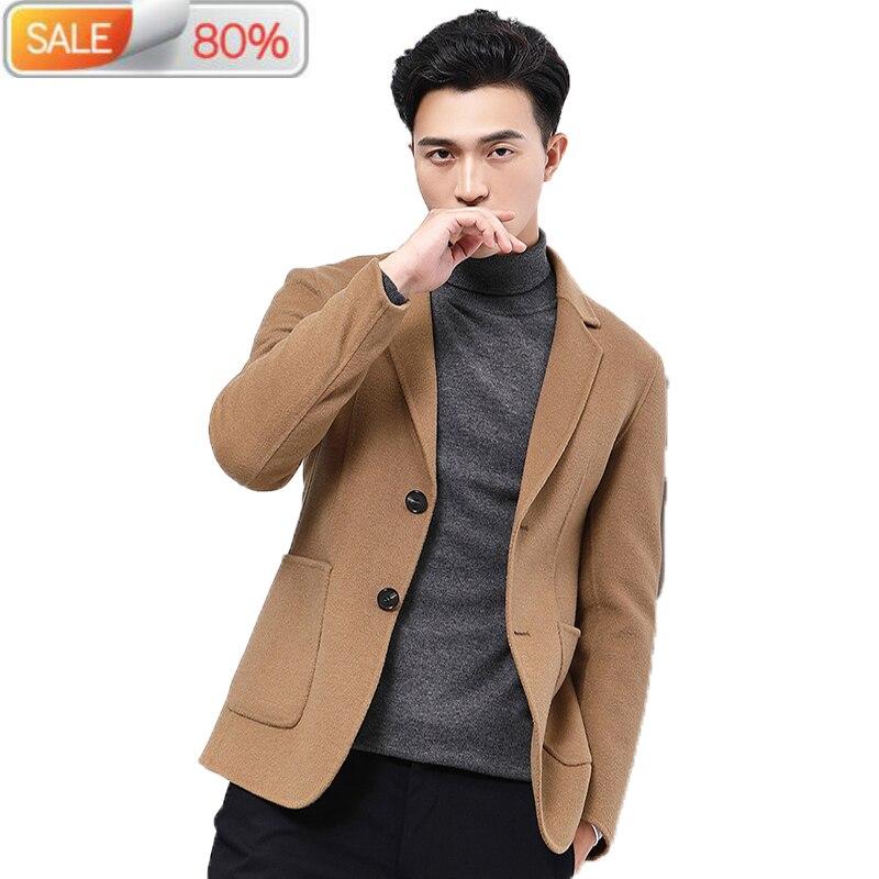 Short Wool Coat Men Jacket Spring Casual Suit Korean Blazer Mens Coats and Jackets Overcoat Casaco Masculino B213A7