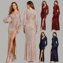 цена на Burgundy Prom Dresses Party Gowns 3/4 Sleeves Robe V-neck Side Slit Women Formal Dress vestido formatura