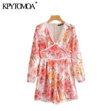 Vintage Stylish Lace Patchwork Floral Print Playsuits Women 2020 Fashion V Neck Long Sleeve Female S