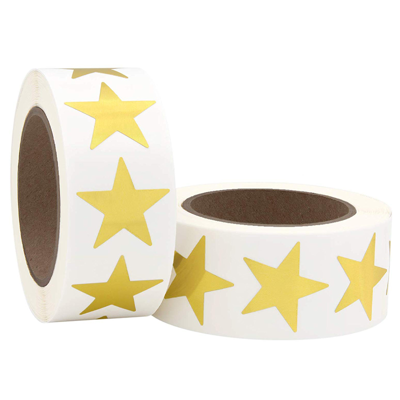 1inch Gold Metallic Foil Star Shape Paper Stickers Labels Packaging Seals Crafts Wedding Favor Tag Labels 500 Total Per Roll