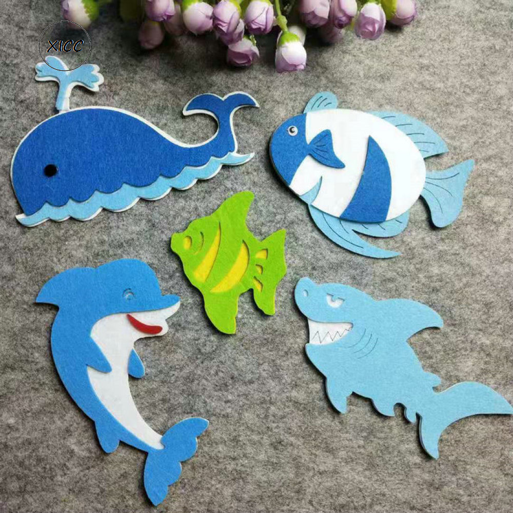 XICC Blue Whale Fish Handmade DIY Felt Fabric Wall Stickers Dolphin Shark Handwork Decoration Non-woven Kids Education Felt Pads