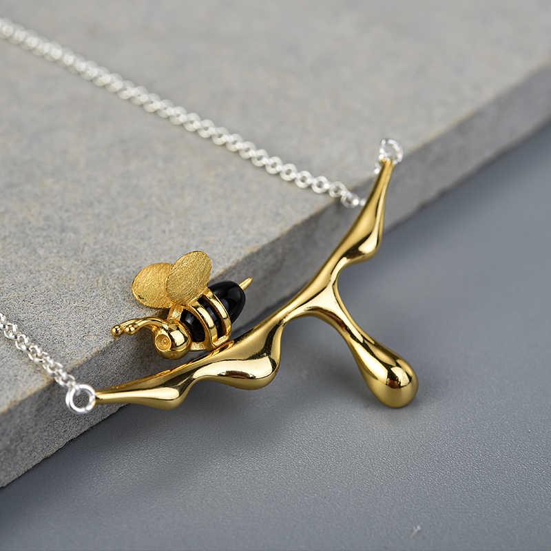 로터스 펀 18K 골드 꿀벌과 물방울 꿀 펜던트 목걸이 진짜 925 스털링 실버 수제 디자이너 파인 쥬얼리 여성을위한