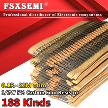 100pcs 1/2w 0.5W 5% Carbon Film Resistor 1R~1M 2.2R 10R 22R 47R 51R 100R 150R 470R 1K 4.7K 10K 47K 1 2.2 10 22 47 51 100 150 ohm