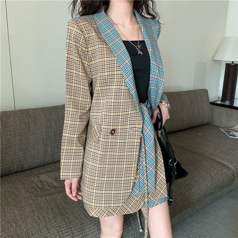 Single breasted plaid two-pieces women skirt suit Casual streetwear female suit sets Fashion office ladies blazer suits New
