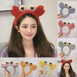 Cute Cartoon Crab Headband Women Furry Animals Head Hoop Plush Hair Hoop Wash Face Makeup Hair Bands Female Hair Accessories