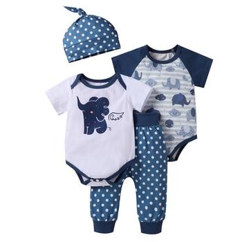 4 Pcs Newborn Outfits Baby Boy Elephant Romper Set